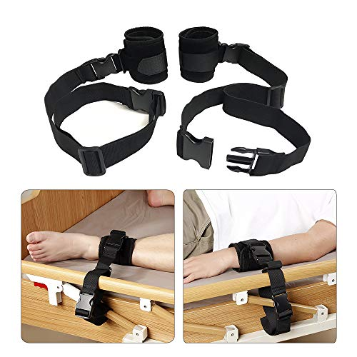 Medical Restraints Control Limb Holders Beds Bed Restraint for Hand, Feet (1 Pair - Black)
