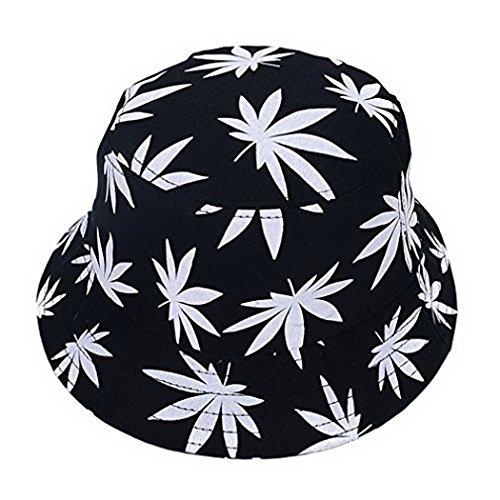 Fancyland Unisex Buschhut Sonnenhut Bucket Hat Fischerhut Cannabis Muster Mütze Sommer Outdoor Fischermütze (Weiß)