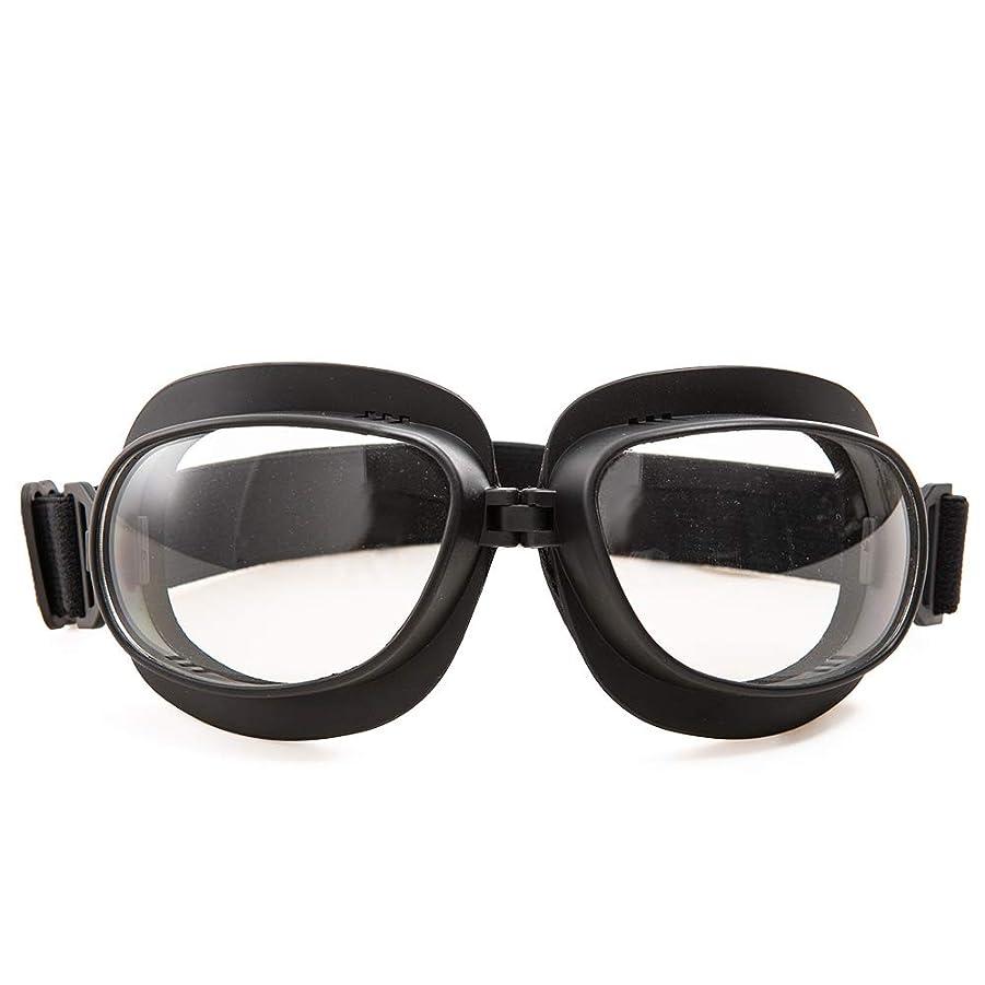 見つけたカンガルー罹患率パイロットゴーグル オートバイサイクリングスポーツゴーグルメガネPCレンズUVカット多目的保護メガネパンクゴーグル 防砂塵 防風(透明)