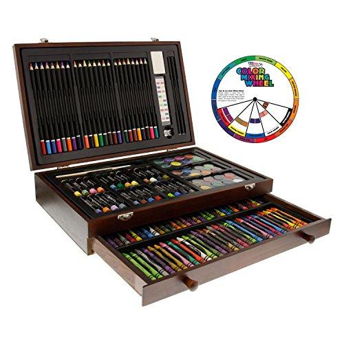 U.S. Art Supply 143 Piece-Mega Wood Box Art, Painting & Drawing Set, Now Contains a Bonus Color Mixing Wheel