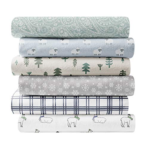 Brielle Home 100-Percent Cotton Flannel Sheet Set, Queen, Sheep Light Blue