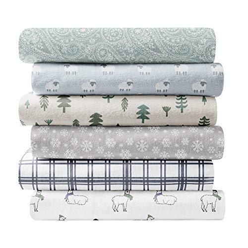 Brielle 100-Percent Cotton Flannel Sheet Set, Cal King, Modern Plaid Navy