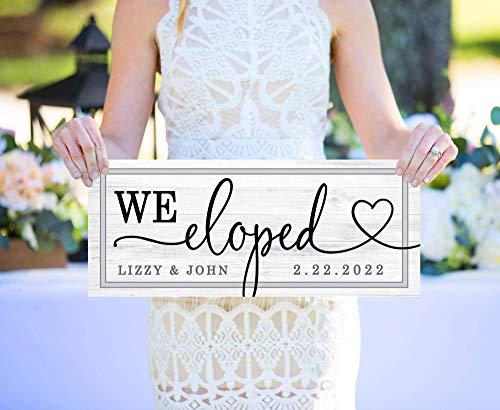 We Eloped Sign, We Eloped Wooden Wedding Signs, Elopement Announcement Sign Wedding Sign Personalized Photo Prop - Elopement