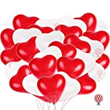 LOVE HEARTS Balloons DECORATIONS SET - You will receive 25pcs red heart shaped balloons, 25pcs white heart shaped balloons. It's enough for your kids party decor and home decor. LaTeX BALLOON SIZE - The balloons are beautiful Large (9 inches) - about...