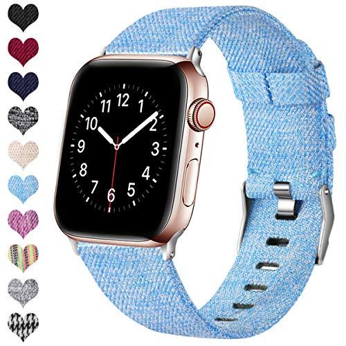 Ouwegaga Kompatibel mit Apple Watch Armband 38mm 40mm 42mm 44mm, Ersatzgewebe Band Nylon Armband Kompatibel mit iWatch Serie 5 4 3 2 1, Hellblau 42mm/44mm