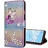 Nadoli Leder Hülle für Huawei P Smart 2019,Luxus Bling Glitzer Diamant 3D Handyhülle im Brieftasche-Stil Schmetterling Blumen Flip Schutzhülle Etui für Huawei Honor 10 Lite,Lila#