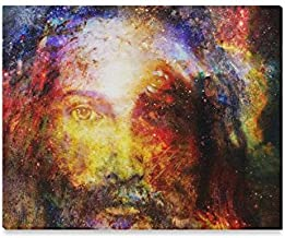 InterestPrint Jesus Christ Painting in Cosmic Galaxy Space Canvas Prints Wall Art Stretched and Framed Abstract Canvas Paintings for Wall and Home Decor, 20