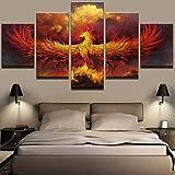 HD Poster 5 Stücke Malerei Feuer Phoenix Leinwand Hause