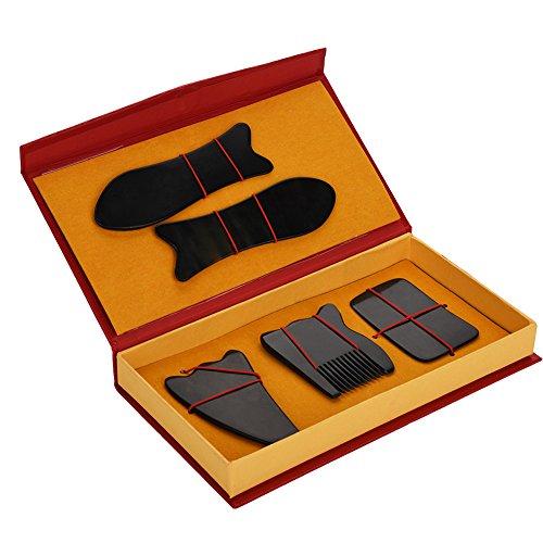 GuaSha Massagegerät, Wurzelplatte aus Horn, Entspannungs Set für den Körper, Gesundheitsmassage, Muskelkater, Gelenkentspannung