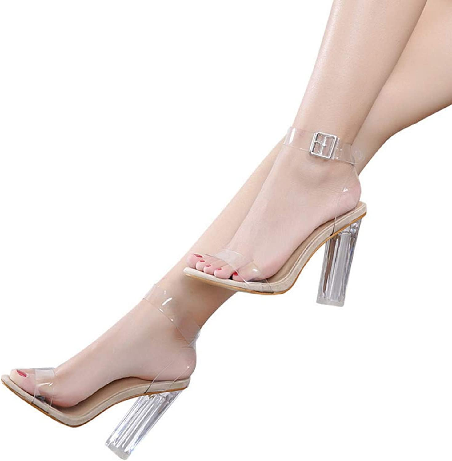 T-JULY Women's Sandals Ankle StrapTransparent High Heels Crystal High Ladies Sexy Wedding Party shoes