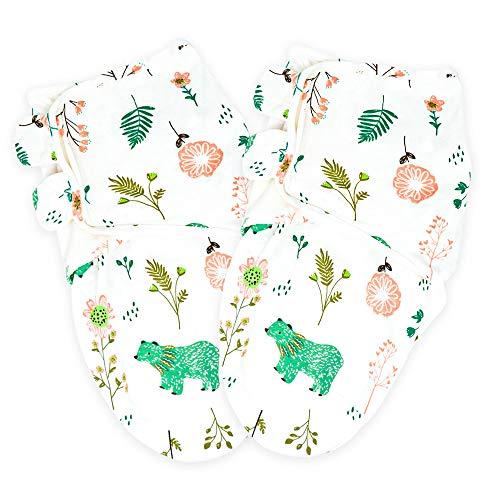 Callowesse © Baby Swaddle Wrap Manta Envolvente. Adecuado para 0-3 m (3,2kg-6,4kg), 100% pañales de algodón (2 paquetes) 190GSM / 0.5 TOG (Osos & Flores)