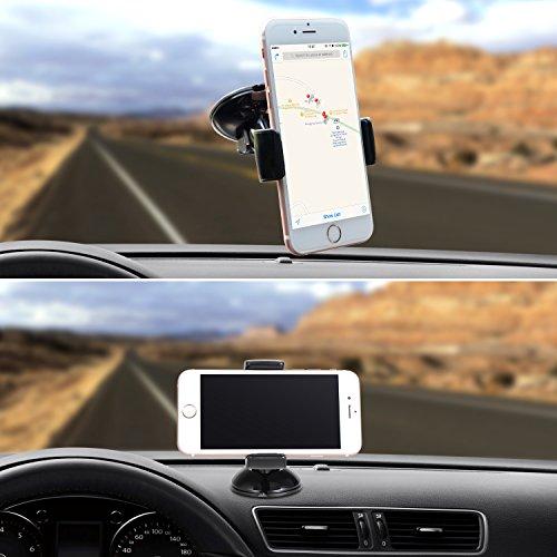Handyhalter fürs auto -TOPLUS Handyhalterung Auto universal kfz Handyhalterung mit Kugelgelenk für Frontscheibe iPhone, Samsung HTC, Nokia, Sony, LG, Blackberry und mehr (Schwarz)
