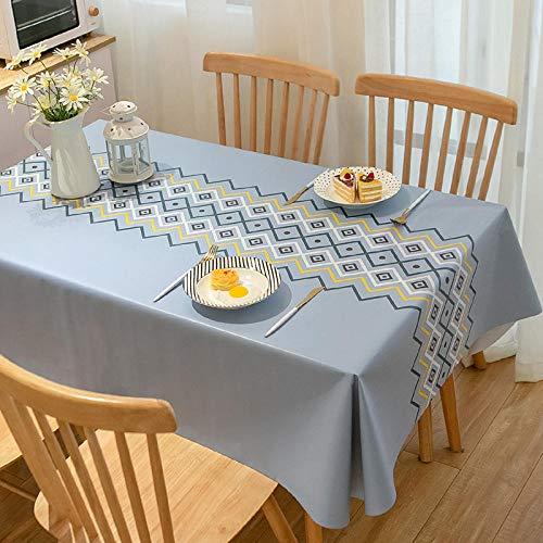 Yinaa Mantel de Mesa Manteles Impermeable PVC para El Hogar Manteles Rectangulares de Mesa de Café Manteles Azul Claro 90 × 140cm
