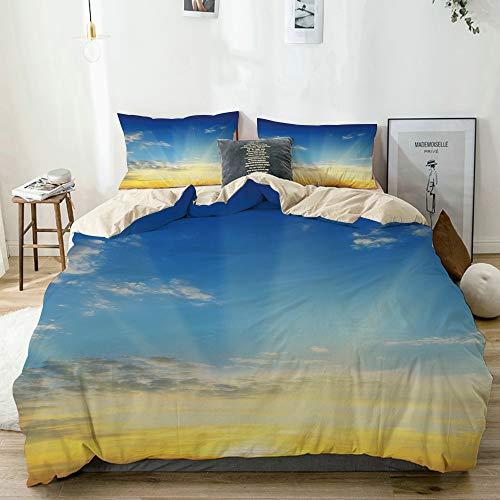 SUGARHE beige Bettwäsche Set,Sonnenstrahlen über dem Horizont Sonnenuntergang bewölkt szenische Saisonschönheit des Weltbildes,1 Bettbezug 240x260cm+2 Kopfkissenbezug 80x80cm