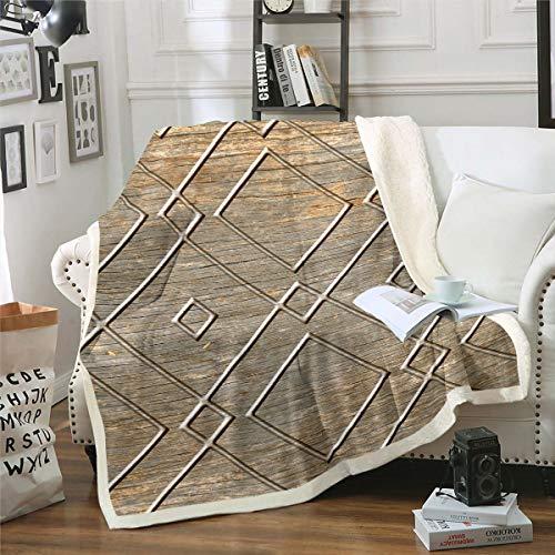 Loussiesd Manta de forro polar con rombos geométricos para sofá, cama, sofá, cama, manta de felpa moderna, estilo abstracto, marrón, decoración de habitación individual, 127 x 152 cm