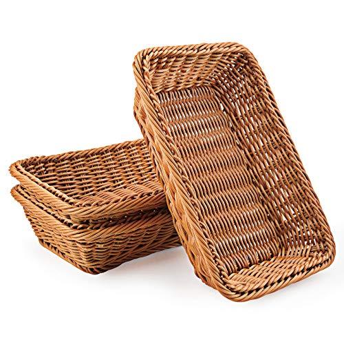 WANDIC Cesta tejida,  juego de 3 cestas de mimbre de polimimbre para alimentos,  frutas,  verduras,  servir restaurante,  cocina