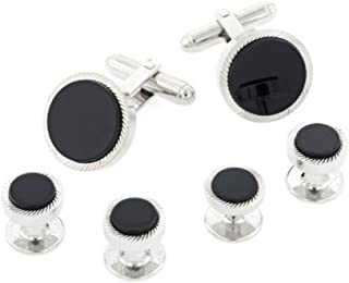 JJ Weston Discreet Sized Etched Tuxedo Cufflinks and Shirt Studs Made in the USA.