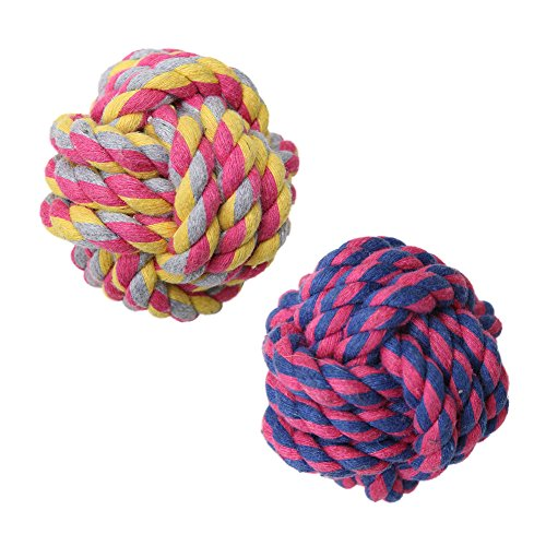 Vivifying Dog Rope Toy Ball, Pack of 2 Braided Cotton Chew Knot Ball for Dog Teeth Cleaning
