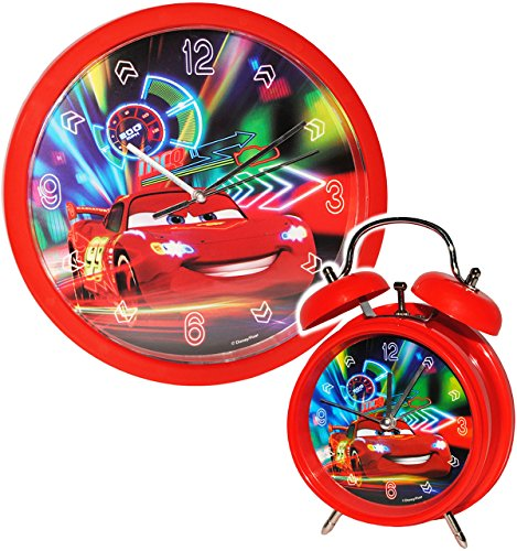 alles-meine.de GmbH 2 TLG. Set Wanduhr & Wecker -  Disney Cars - Lightning McQueen - Nitro  - 25 cm groß - Uhr - Analog - Wohnzimmer & Kinderzimmer - für Jungen Kinder - Kinder..