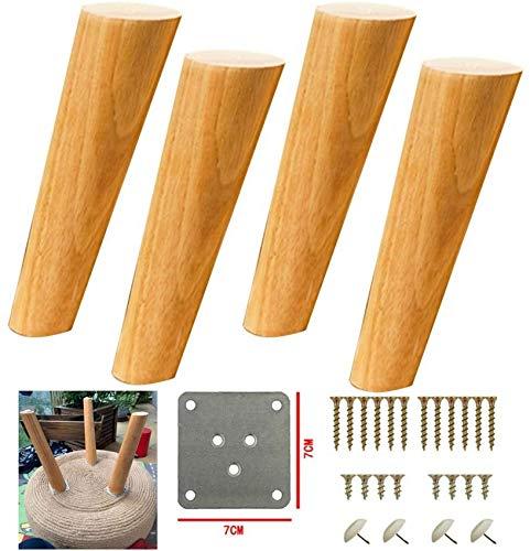 4 patas de madera maciza para muebles, patas de mesa de TV oblicuas cónicas para sofá, patas de repuesto para armario, para cajoneras de sofá, armario, proyecto de muebles de bricolaje, con placas