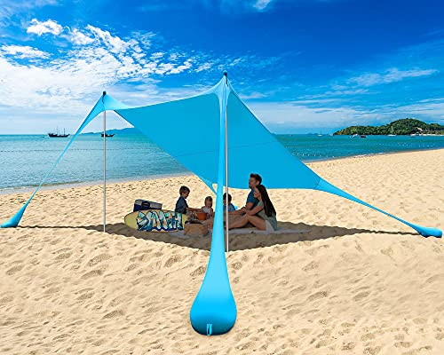 PETNOZ Beach Tent Canopy Sun Shade UPF50+, Easy Pop Up Anti-Wind Sun Shelter with Stability Poles/Carry Bag/Ground Pegs/Sand Shovel, Portable Sunshade for Beach Camping (Royal Blue, 10×10 FT 2 Pole)