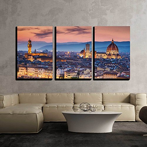 """wall26 - 3 Piece Canvas Wall Art - Beautiful Sunset Over Cathedral of Santa Maria Del Fiore (Duomo), Florence, Italy - Modern Home Decor Stretched and Framed Ready to Hang - 16""""x24""""x3 Panels"""
