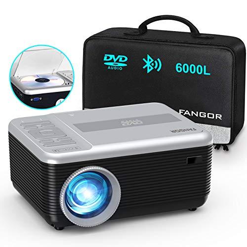 """Mini Projector, FANGOR Portable Movie Projector Built in DVD Player, HD 1080P Bluetooth Projector, 6000L Phone Video Projector 200"""" Display, Compatible with TV Stick/ laptop/PS4/ USB/SD /DVD"""