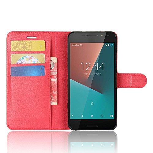 SMTR Vodafone Smart N8 Wallet Tasche Hülle - Ledertasche im Bookstyle in Rot - [Ultra Slim][Card Slot][Handyhülle] Flip Wallet Hülle Etui für Vodafone Smart N8