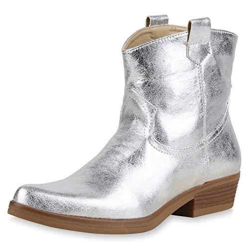 SCARPE VITA Damen Stiefeletten Cowboy Boots Leder-Optik Stiefel Western Schuhe Spitze Booties Cowboystiefel Metallic 173416 Silber Metallic 37