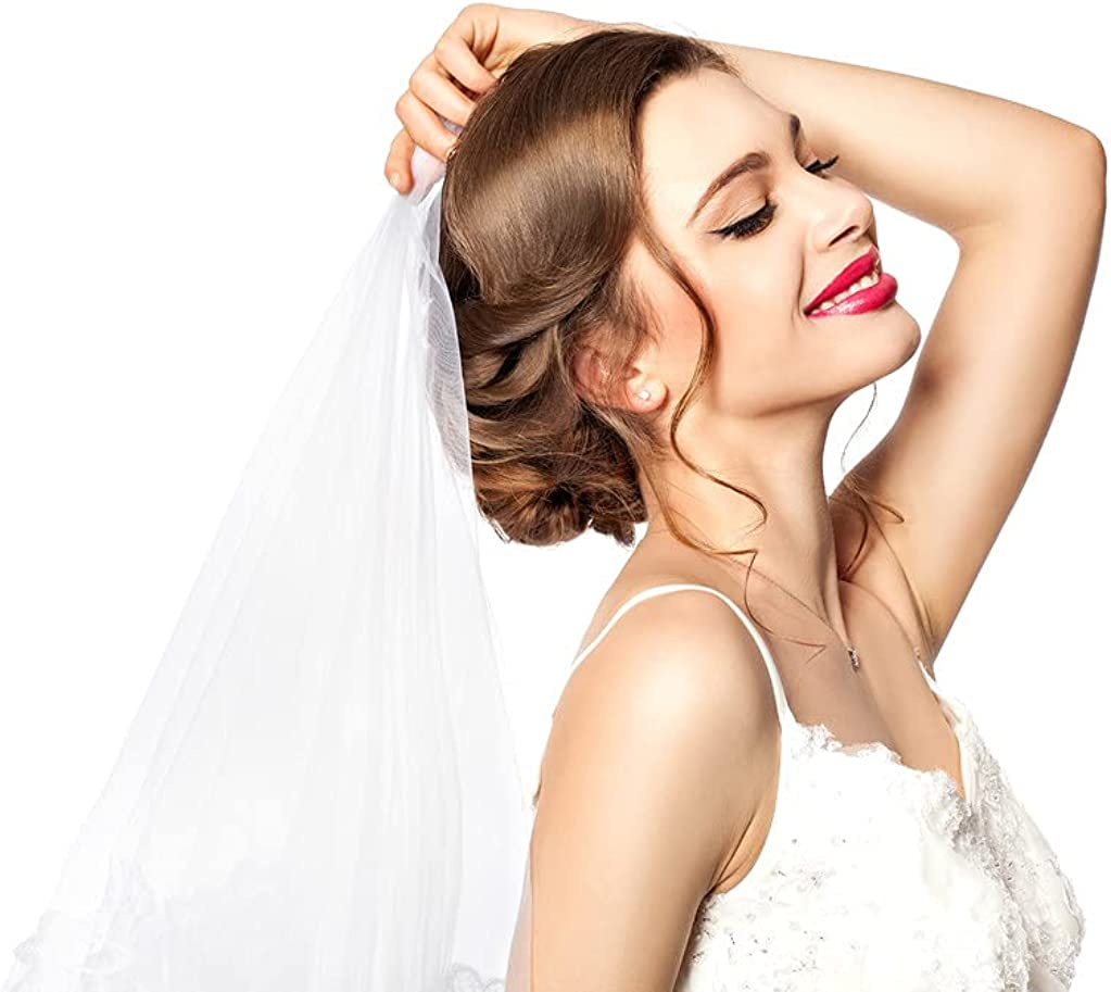 2 Tier Lace Sequins Wedding Bridal Veil in Fingertip Length with Comb, White color