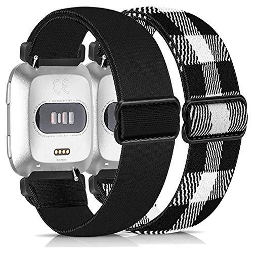 Zoholl Correas de reloj elásticas para Fitbit Versa, correas de repuesto de nailon compatibles con Fitbit Versa 2/Fitbit Versa Lite (23 mm negro+rejilla blanca negra)