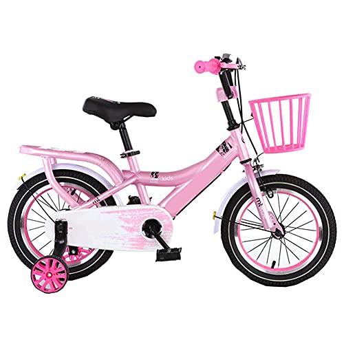 LFFME Bicicleta para Niños De 12 A 18 Pulgadas para Niñas Y Niños De 3 A 12 Años con Ruedas De Entrenamiento Y Frenos De Mano, Asiento Ajustable En Altura,A,16