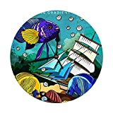Mesllings Reloj de pared sin tictac, 24,86 cm, diseño de peces en acuario, brillante y colorido