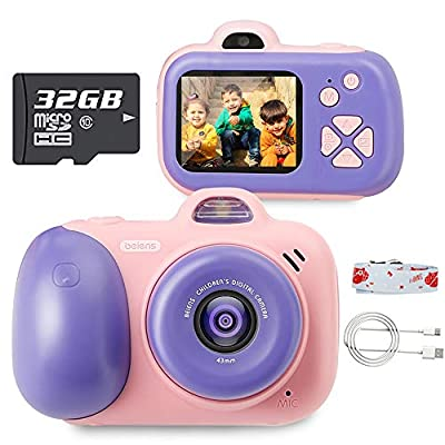 beiens Digital Video Camera for Kids, 24MP Selfie Dual Cameras, 32G SD Card, 1080P 2.0 inch HD IPS Screen, USB Charge, Best Birthday Gifts Kids Camera Toys for Girls and Boys by beiens