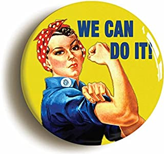 We Can Do It World War Two Button Pin (Size 1inch Diameter) WW2 Feminist