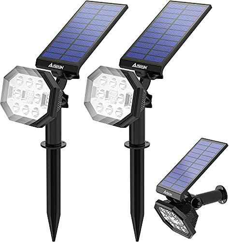 AISITIN Luces Solares Led Exterior Jardin, 2 en 1 Luz Solar Exterior para Jardin, IP65 Luces Solares Impermeables, Luz de pared Ajustable para Jardín, Césped, Pared - Blanco Frío (2 Pack 22 LED)
