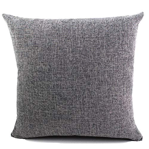 J&T Cushion Covers Cotton Linen Square Home Decorative Pillow Covers Throw Sofa Car Pillow Case with Concealed Zipper 24'x24' 60X60CM Grey
