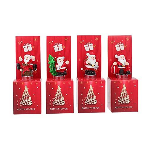 Hemoton 4 Piezas de Tapón para Botellas de Vino de Navidad de Aleación de Aluminio Tapones para Botellas de Vino de Papá Noel Tapones para Botellas de Vino Y Bebidas Decoración de Fiesta