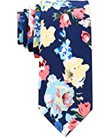 AUSKY Floral Slim Skinny Neckties for Men Boys ,Printed Flower Cotton Spring Tie (V)