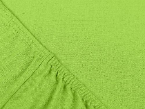 npluseins klassisches Jersey Spannbetttuch – erhältlich in 34 modernen Farben und 6 verschiedenen Größen – 100% Baumwolle, 70 x 140 cm, apfelgrün - 4