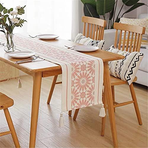 RAILONCH Bawełniany bieżnik na stół nowoczesny z frędzlami, boho, geometryczny nadruk, tkany beżowy, nadaje się do prania, dekoracja stołu do jadalni, na imprezę, urlop, do kuchni (35 x 220 cm)