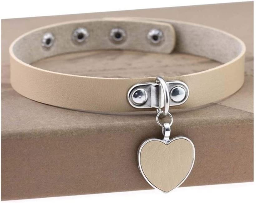 SHOYY Punk Sale price Gothic Necklace Heart Collar Buckle Colorado Springs Mall Rivet Wo