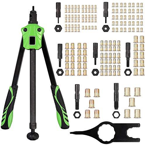 Proster Nietzange 14 '' Nietmutternzange-Set Push/Pull Stange Design Ergonomische Gewinde Griff mit 7 Austauschbarer Dorne M3, M4, M5, M6, M8, M10, M12 und 165 PCS Nietmuttern