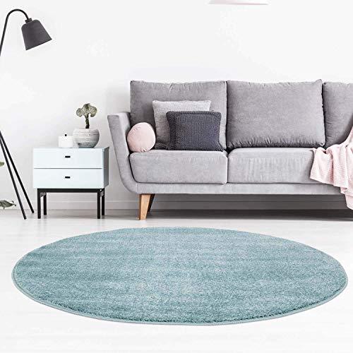 carpet city Teppich Rund Einfarbig Uni Flachfor Soft & Shiny in Blau für Wohnzimmer; Größe: 120x120 cm rund