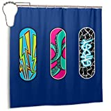 Yuanmeiju Mode wasserdichter Duschvorhang Three Skateboards Print Decorative Bathroom Curtain with Hooks 72 X 72 Inch