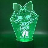 3D Luz De Noche Led visual Ilusión óptica Luz de noche para Niños curso regalo de cumpleaños para jóvenes, niñas Con interfaz USB, cambio de color colorido