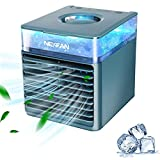SNKSDGM Portable Mini Air Conditioner,Small Air Conditioners Evaporative Air Cooler Desk Fan with 3 Speeds&7 Colors LED Light, Personal Oscillating AC Mist Humidifier for Home Small Room Office