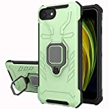 Yiakeng Funda iPhone SE 2020 / iPhone 8 / iPhone 7 / iPhone 6, 360 Grados Proteccion Hard PC Silicona TPU Carcasa Antigolpes Case para iPhone SE 2020/8/7/6 (Verde Claro)