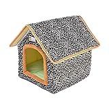 Katzenhaus, Katzenhöhle Für Katzen Winterfest, Wasserdichtes Wetterfestes Pet Outdoor House, Faltbare Tierheim Für Haustiere, Hautier Gartenhaus Mit Abnehmbarem Matratze Weich Und Warm Für Hund Katze