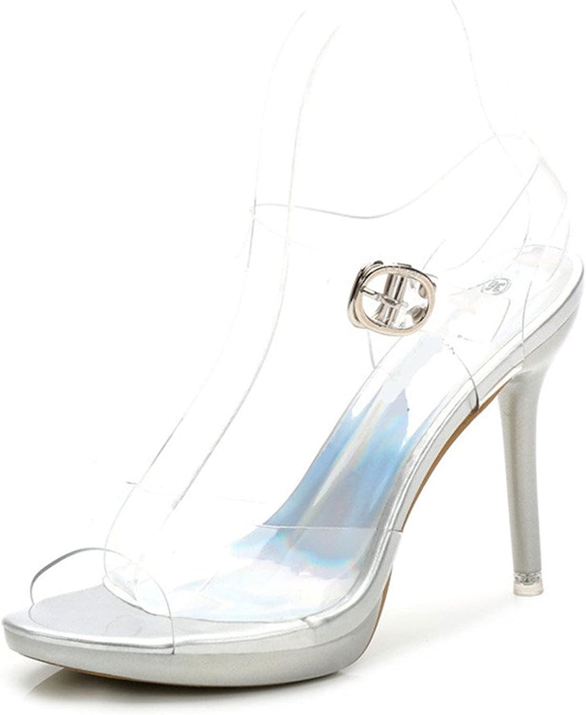 SAMSAY Women's Loretta 4  Heels Clear Platform Sandals